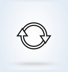 refresh and circle symbol line art simple modern vector image