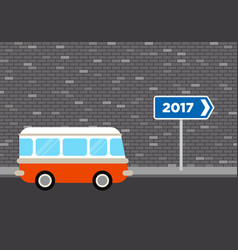 Retro van travel to 2017 concept flat design vector