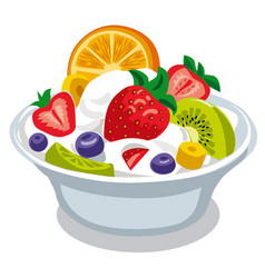 Salad with yogurt vector