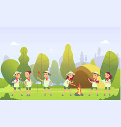 scouts in camping cartoon kids at campfire in vector image