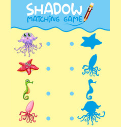 Sea creature shadow matching game template vector