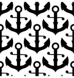 seamless pattern nautical black anchors vector image