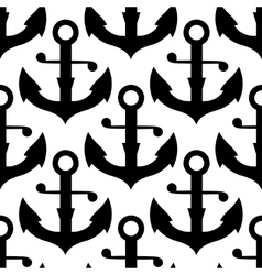 Seamless pattern of nautical black anchors vector image