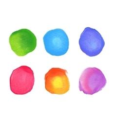 set rainbow watercolor circles stains vector image