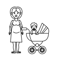 silhouette woman pregnant and her baby icon vector image