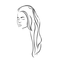 Sketch female face sensual silhouette with long vector