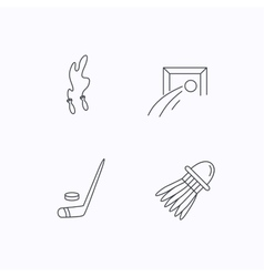 Skipping rope football and ice hockey icons vector image