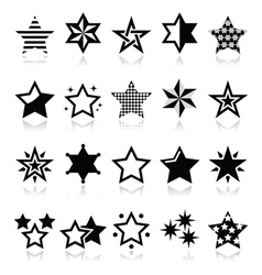 Stars black icons with reflection isolated on whit vector image