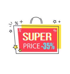 Super price -35 discount promo sticker with stars vector