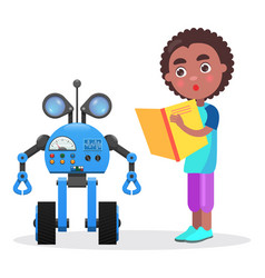 Surprised african boy with book looks at robot vector