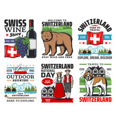 Swiss travel icons switzerland alps mountains vector