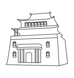 The three-storey building in mongoliamongolian vector