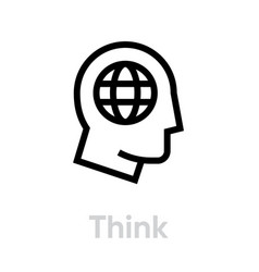 think globe planet editable line simple vector image