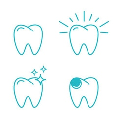 tooth set vector image