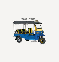 Tuk tuk in thailand hand draw sketch vector