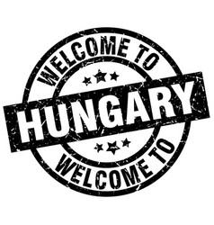 Welcome to hungary black stamp vector