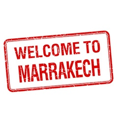 Welcome to marrakech red grunge square stamp vector