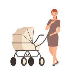 Woman and pram on a white background character vector