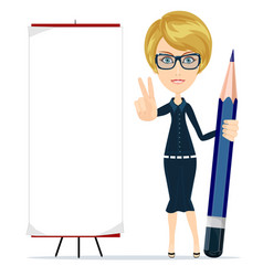 woman holding a pencil and pointing to a blank vector image