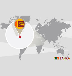 World map with magnified sri lanka vector