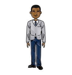 young business man standing with his hands vector image