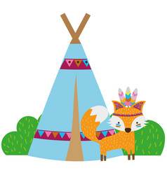 Colorful fox animal with camp design and bushes vector