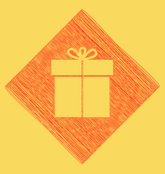 gift sign red scribble icon obtained as a vector image vector image