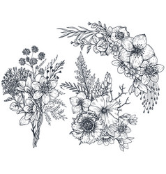 set of floral compositions bouquets with flowers vector image