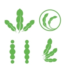 Set of green isolated leaves logos plant elements vector