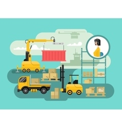 Warehouse logistics concept design vector image