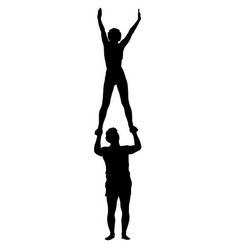black silhouette two acrobats show stand on hand vector image