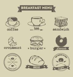Breakfast Menu Hand Drawing Style vector image