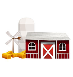 farm scene with silo and barn vector image vector image