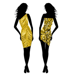 fashion girls in golden vector image vector image