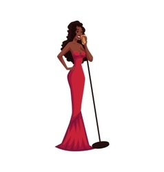 Glamorous African American female singer in posh vector image