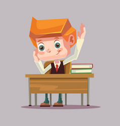happy smiling school boy character raising hand vector image