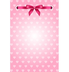 pink background with hearts and ribbon vector image vector image