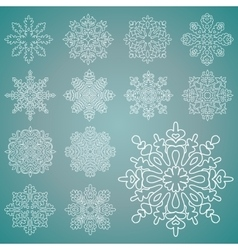 Various isolated winter snowflakes set vector image