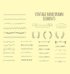 vintage hand drawn elements vector image
