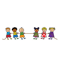 children pull the rope vector image vector image