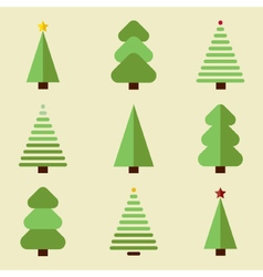 Flat design christmas tree set vector image