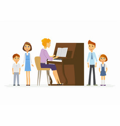 music lesson at school - modern cartoon people vector image vector image