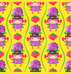 seamless colorful pattern with blackberry fruit vector image