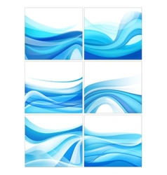 set of abstract blue wavy water stream vector image vector image