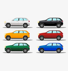 set of different colors terrain cars white vector image vector image