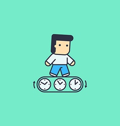 man running with the time vector image