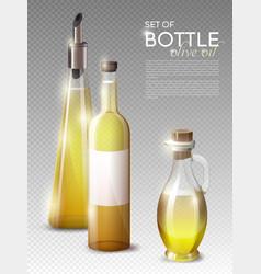 realistic olive oil bottles set vector image vector image