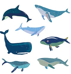 Whales set - hand drawn design vector image