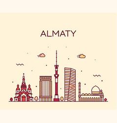 almaty skyline city kazakhstan linear style vector image