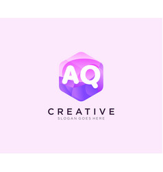 Aq initial logo with colorful hexagon modern vector